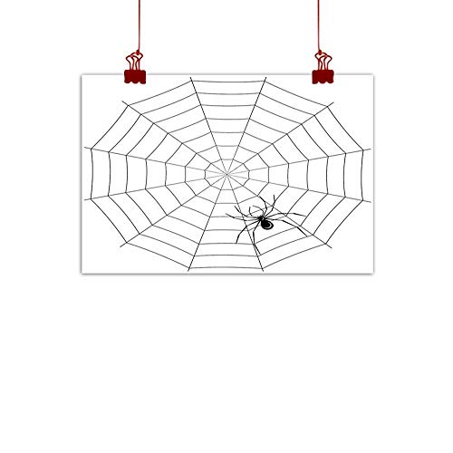 (warmfamily Canvas Wall Art Spider Web,Toxic Poisonous Insect Thread Crawly Malicious Bug Halloween Character Design,Black White 24