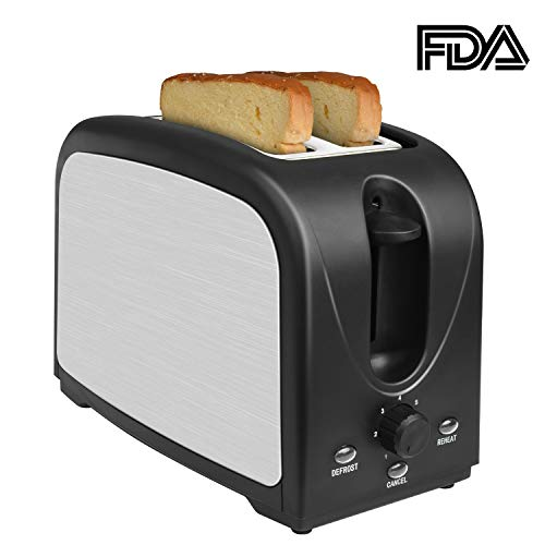 Toaster 2 Slice Toasters Best Rated Prime Toaster Compact Brushed Stainless Steel Toaster Black Small Toaster For Breakfast Bread Defrost Reheat Cancel Button Removable Crumb Tray Quickly - Tray Day Bread