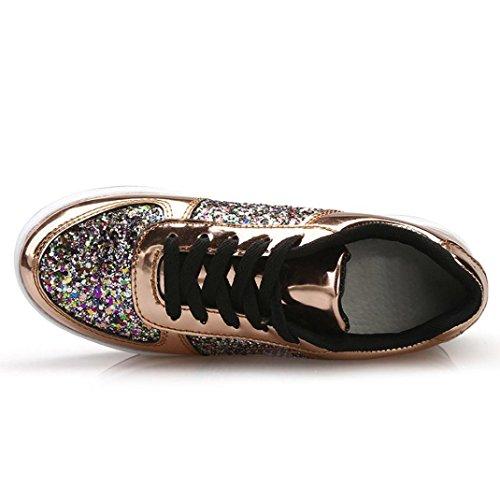 para para Deportes Zapatillas Dorado Exterior BYSTE Scarpe de Mujer YB7qPtEnW