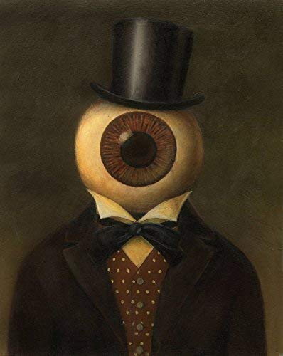 Victorian Eyeball Man Portrait - Steampunk - Science Fiction Portrait - Creepy Art - Spooky - Twilight Zone - Outer Limits - Transparent Eye ()