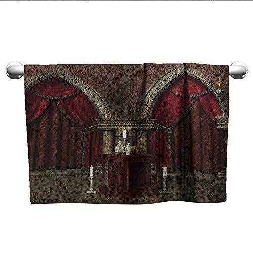 alisoso Gothic,Best Bath Towels Mysterious Dark Room in Castle Ancient Pillars Candles Spiritual Atmosphere Pattern Travel Towel Quick Dry Red Black W 10