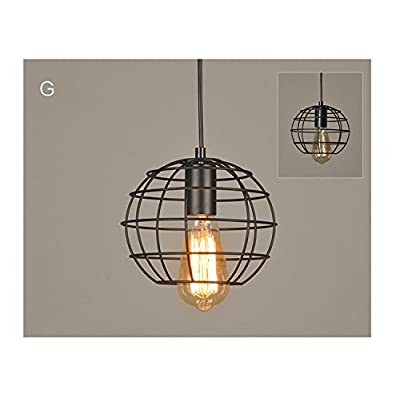 Globe Suspension Luminaire Vintage Simple Industrielle En Metal Noir