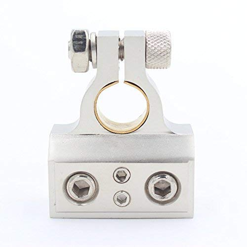 Universal Dual 1//0 8 Gauge Positive or Negative Battery Terminal Zinc Alloy with Sand Nickel Finish for 12V 24V Cars
