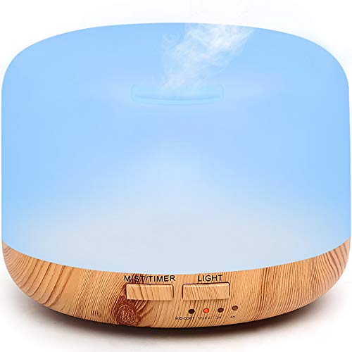 AIMENO Essential Oil Diffuser, 300ml Oil Diffuser Humidifier with 7 LED Color Changing Lamps and 4 Timer,Aromatherapy Diffuser with Waterless Auto Shut-Off, Cool Mist Humidifier for Office & Home & Bedroom &Living Room