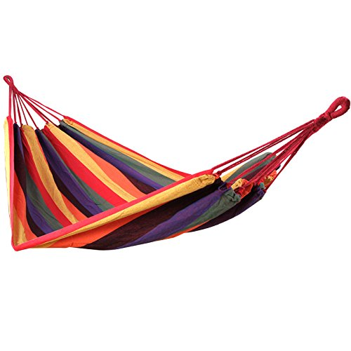Price comparison product image SONGMICS Outdoor Garden Cotton Hammock Portable Camping Hanging Swing Bed Heavy Duty Hammock UGDC210
