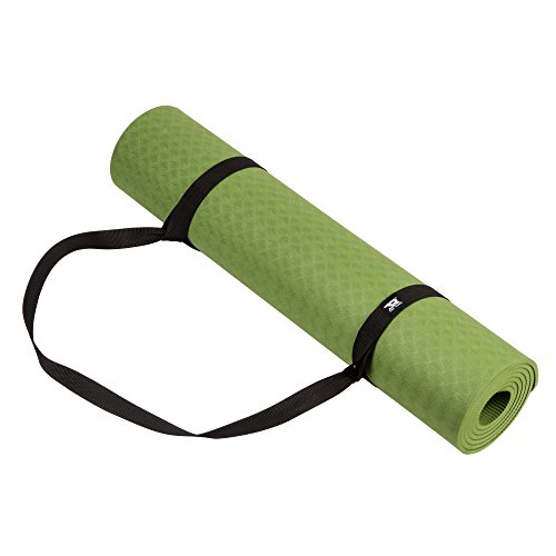 JR TPE Material Premium Extra Thick High Density 6mm Exercise Fitness Yoga Gym Training Mat with Carrying Strap, Non-Slip, Non Toxic, Latex Free, PVC Free, 1pcs (Green)