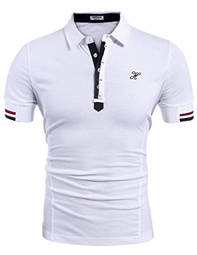 Hotouch Men's Casual Slim Fit Short Sleeve Polo T Shirt Tee Tops White M
