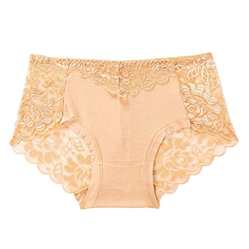 YetouWomen Lace Hipster Panty Hollow Transparent T-Pants Middle-Waisted Bikini Panties Underwear Khaki
