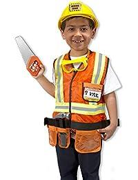 Construction Worker Role Play Costume Dress-Up Set (6 pcs)