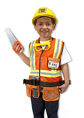 Melissa & Doug Construction Worker Role Play Costume Dress-Up Set (6 pcs) - Dress Up Outfits For Kids