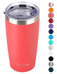 SUNWILL 20oz Stainless Steel Vacuum Insulated Tumbler with Lid Great for all kinds of hot and cold beverages, 20oz capacity designed for coffee, beer, juice etc. Fit to car cup holders. Double-Wall Vacuum insulated thermal quality keeps your ...