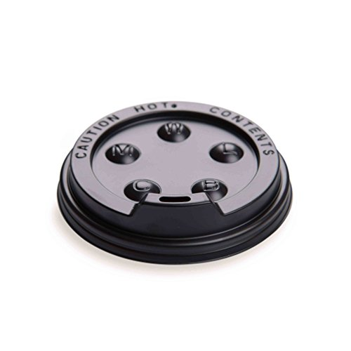 500-CT Disposable Black Lid for Coffee and Tea Cups - Fits 8-OZ, 12-OZ and 16-OZ Cups: Perfect for Coffee Shops, Juice Shops, and Restaurant Takeout ? Recyclable Polystyrene Cup Lid ? Restaurantware