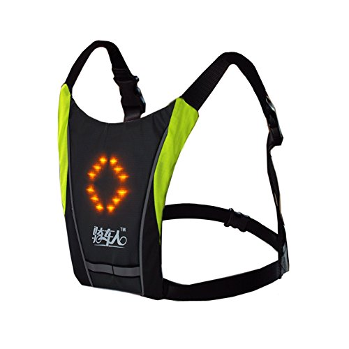 Bikeman LED Wireless Turn Signal Light Backpack Vest Guiding Light indicator Reflective Luminous Safety Warning Direction with remote for Night Cycling Running Walking Hiking Travel School Bag