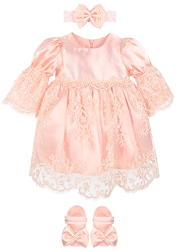 Lilax Baby Girl Newborn Peach 3/4 Sleeve Lace Princess Dress Gown 4 Piece Deluxe Set 0-3 Months