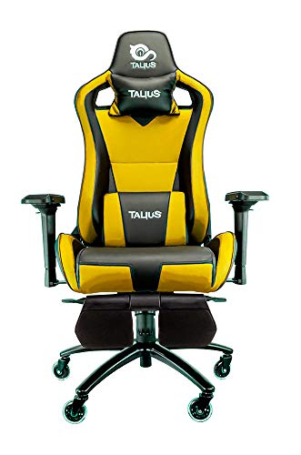 Talius Caiman Silla Gaming Profesional con reposapies Extraible, Inclinacion y Altura Regulable, reposabrazos 4D Ajustables (Amarillo)