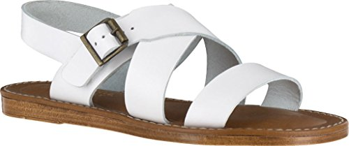 Bella Vita Frauen Flache Sandalen White Leather