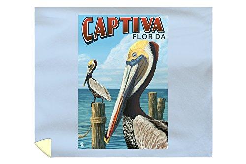 Lantern Press Captiva, Florida - Brown Pelican 45296 (88x104 King Microfiber Duvet Cover)
