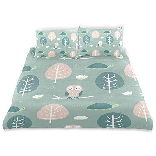 HZVBENGFTZ Crystal Velvet add Cotton Sateen Owl Turtle Malachite Green Duvet Cover Set Luxury Designer Colorful Students Sheets Gift Bedding Set 3 PCS (1 Quilt Cover + 2 Pillow Shams) Hypoallergenic