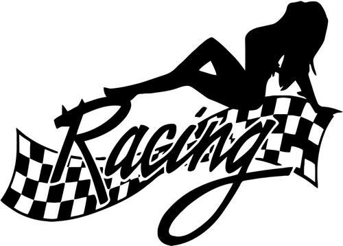 Mandy Graphics Racing Checkered Flag Sexy Girl Vinyl Die Cut Decal Sticker for Car Truck Motorcycle Windows Bumper Wall Home Office Decor Size- [12 inch/30 cm] Wide and Color- Gloss -