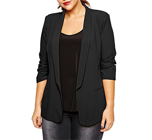LOKOUO Blazer Women Plus Size Black Red Autumn and Jackets Coat Solid Casual Blazer Business Suits 5XL 6XL by LOKOUO Wool-outerwear-coats
