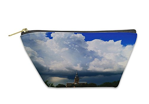Gear New Accessory Zipper Pouch, Sunbeam Is Shining From The Dark Clouds To The Church, Small, 6008713GN by Gear New