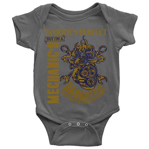 LOUSTORE Nobody's Perfect Baby Bodysuit, Mechanic's Daughter Cute Baby Bodysuit (NB, Baby Bodysuit - Dark Gray)