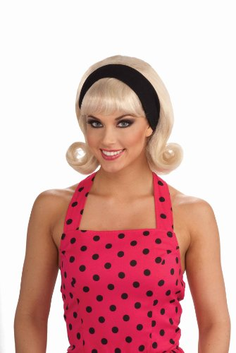 Forum Novelties Women's 50's Flip Headband Costume Wig, Blonde, One Size (Curly Blonde Costume Wig)