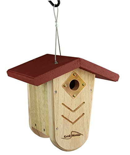 Kettle Moraine Hanging Moraine Bird House (Red) Wren & Chickadee House by Kettle Moraine