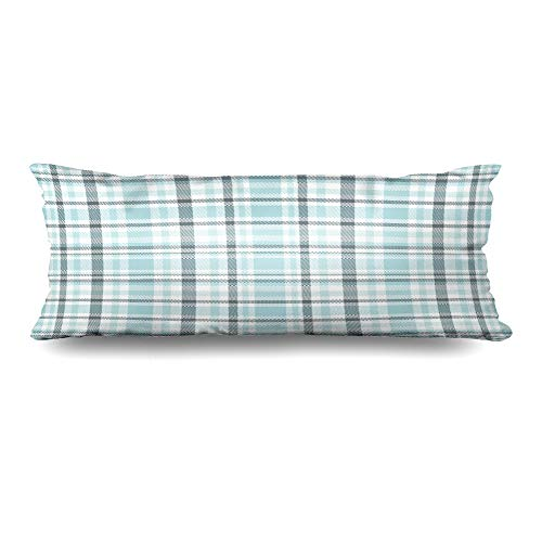 (Ahawoso Body Pillows Cover 20x54 Inches Gray Border Tartan Plaid Pattern Light Blue Table Green Cerulean Check Checkered Flannel Gingham Decorative Cushion Case Home Decor)