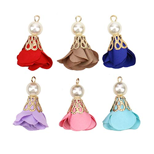 JETEHO 24 pcs Flower Tassels Fabric Pearl Tassel for Jewelry Making Necklace, Earnings