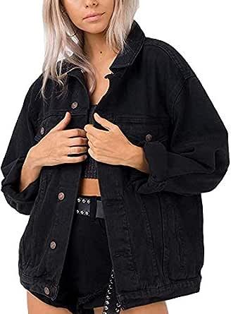 Eliacher Women's Boyfriend Denim Jacket Long Sleeve Loose Jean Jacket Coats