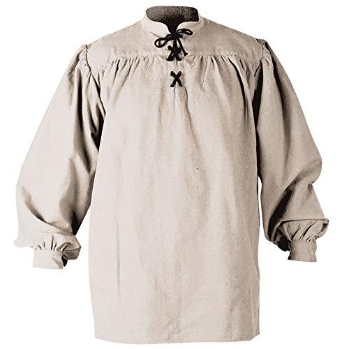 Mytholon Ansgar Shirt Medieval Shirt Cosplay LARP Renaissance Shirt Pirate (Large, Cream) -