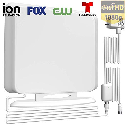 BlueTEK 120Miles Directional Indoor TV Antenna - Amplified HDTV Antenna for TV Signals High Reception Digital TV Antenna for 4K/Vhf/Uhf/1080P Free Channels 13ft Coax