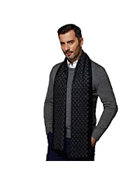 CUDDLE DREAMS Men's Silk Scarves, 100% Mulberry Silk Brushed, Luxuriously Soft (Black Gray)