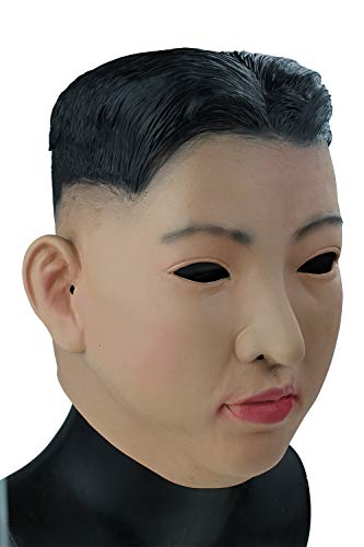 Realistic Latex Human Face Mask, Funny Kim Jong UN President Celebrity Full Overhead Latex Mask Male Man Party Costumes Cosplay ()