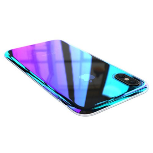 separation shoes 84283 eff48 iPhone X/Xs Case,Winhoo Gradual Colorful Gradient Change Color Ultra Thin  Electroplating Blue Light Mirror Lightweight Anti-Drop Transparent Clear ...