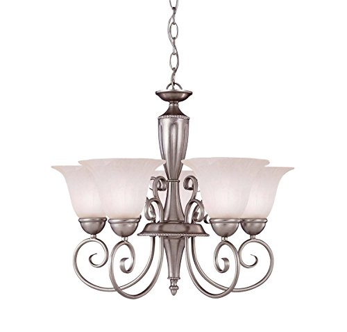 Savoy House KP-1-5001-5-69 Chandelier with White Marble Shades, Pewter Finish - Pewter Chandelier