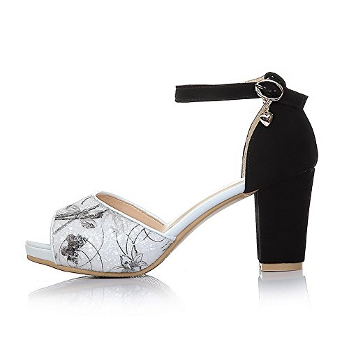 AmoonyFashion Womens Assorted Color Sheepskin High Heels Open Toe Buckle Sandals Black 1qRTSVleH