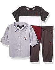 يو.اس. بولو اسن . قميص منسوج بأكمام طويلة للأولاد الصغار، تي شيرت متعدد الألوان، وبنطلون للركض