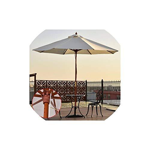 Adjustable 9FT Wooden Patio Umbrella Wood Pole Outdoor Garden Beach Sun Shade Beige Outdoor Furniture ()