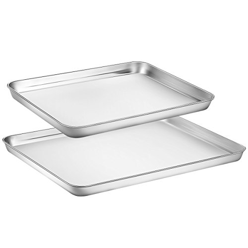 Baking Sheet Set of 2, Zacfton Cookie Sheet Set & Baking Pan 2 Pieces Stainless Steel & Rectangle Size Non Toxic & Healthy,Superior Mirror Finish & Easy Clean, Dishwasher Safe by Zacfton