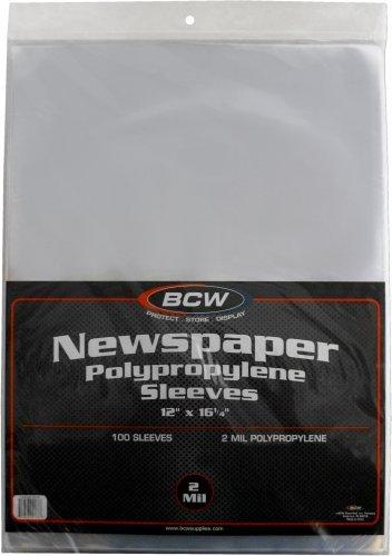 - (100) Newspaper Sleeves - 12-1/8