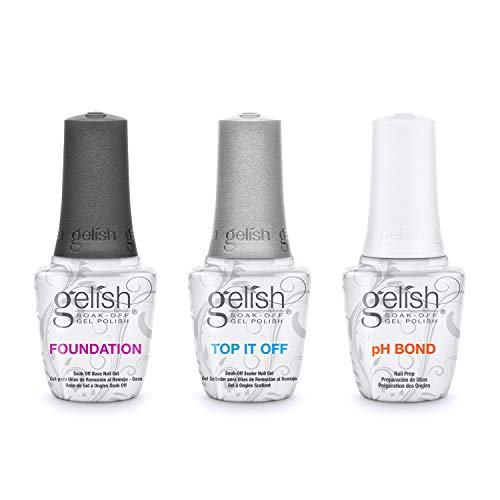 Gelish Terrific Trio Essentials 15 mL Basix Care Soak Off Gel Nail Polish Kit with Foundation, pH Bond and Top It Off