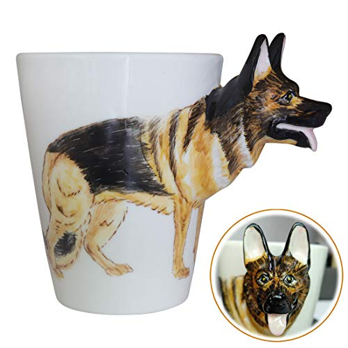 WEY&FLY 3D Coffee Dog Mug, Animals Personalized Tea Cup, Creative Hand Painted 3D Dog Mug, Gift for Lovers Kids Friends (German Shepherd Dog)