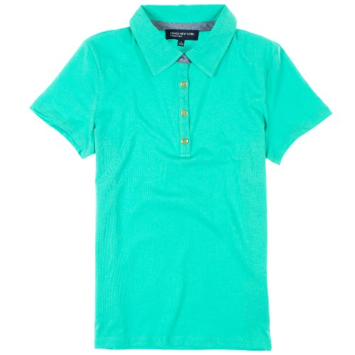 Jones New York Signature Womens Short Sleeve Polo Shirt, Aqua Marine, X-Large