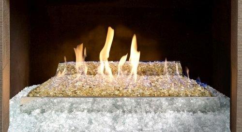 G21GL24 Vent Free Remote Glass Burner with Gold Trim - Liquid Propane (Trim Liquid Propane)
