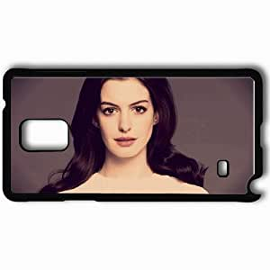 Personalized Samsung Note 4 Cell phone Case/Cover Skin Anne Hathaway Brunette Actress Face Black