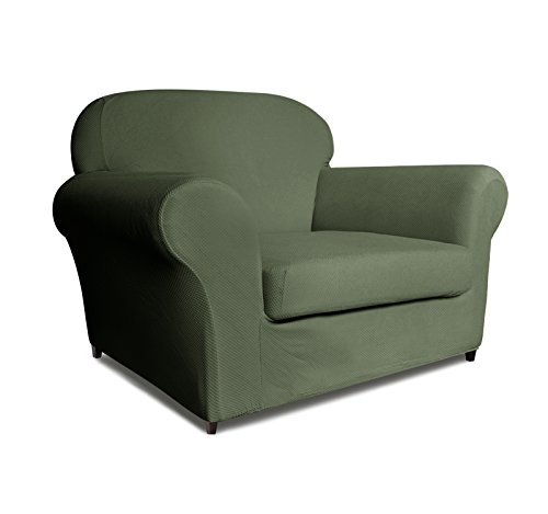 DyFun 2-Piece Knit Spandex Stretch Dining Room Sofa Slipcovers (Chair, Army Green)
