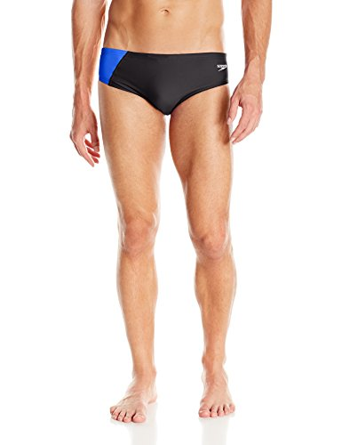 Speedo Men's PowerFLEX Eco Revolve Splice Brief Swimsuit, Blue, 34