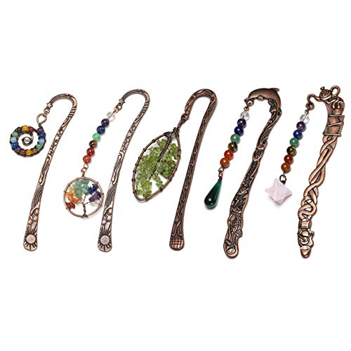 JOVIVI 5pcs Anqitue Copper Metal Bookmark Beading Bookmarks with Handmade 7 Chakra Healing Crystals Tree of Life Tumbled Gemstones Assorted - Bookmark Crystal